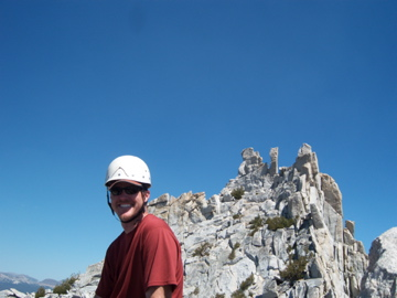 Brad on Eichorn with Cathedral in the Background (peak on left)